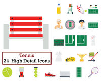 Set of 24 Tennis Icons Stock Photo