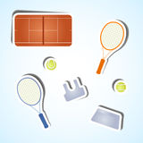 Set tennis icons. Paper badges on a light background Royalty Free Stock Image