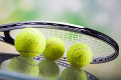 A set of tennis. Racket and ball. Stock Images