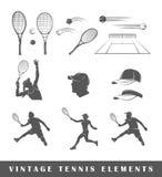 Set tennis silhouettes Royalty Free Stock Photo