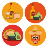 Set tequila with avocado sauce and skull to event. Vector illustration vector illustration