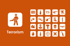 Set of terrorism simple icons Royalty Free Stock Photography