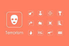 Set of terrorism simple icons Stock Images