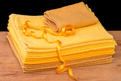 Set terry yellow towel Royalty Free Stock Image