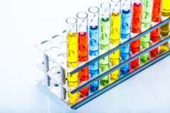 Set of test lab tubes with color liquid on stand Stock Photo