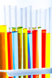 Set of test lab tubes with color liquid on stand Stock Images