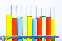 Set of test lab tubes with color liquid on stand Royalty Free Stock Images