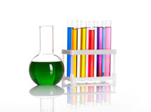 Set of test tubes and flask Stock Photos