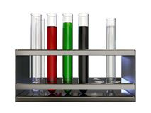 Set of test tubes with liquids in holder on white background. 3D rendering royalty free illustration