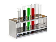 Set of test tubes with liquids in stand on white background. 3D rendering stock illustration