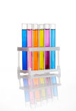 Set of test tubes in a rack, isolated Stock Images