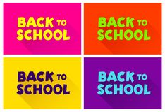 Set of text back to school. In the style of comics of colorful. Design element for the design of leaflets, cards, envelopes, cover. S, flyers, book. Vector Stock Image
