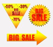 Set with text BIG SALE. Discount coupon 50, 30, 70 percent on a yellow background. Yellow arrow with the text BIG SALE. Three figures with text BIG SALE Stock Photos