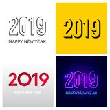 Set of 2019 text design pattern. Vector illustration. Happy New Year. Isolated on white background.  royalty free illustration