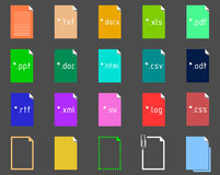 Set of Text Extension icons. Set of icons on the theme of text file extension Stock Photos