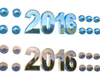 Set text - Happy New Year 2016, isolated. On white background Stock Photos