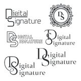 Set of text logos. Digital signature.Letters DS. Monogram. Business service. Monochrome text. Vector illustration Royalty Free Stock Images