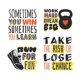Set of text templates for designs, Sport Motivation Quote, Positive typography. For poster, t-shirt or card Vector Illustration