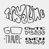 Set of text traveling slogans lettering Royalty Free Stock Images