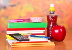 Set of textbooks and school meals Stock Images