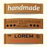 Set of textile labels Royalty Free Stock Photos