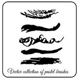 Set of texture brushes Pastel form of waves. Brush to paint fine black brush strokes Royalty Free Stock Photos