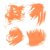 Set texture orange paint smears on white Stock Images