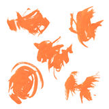 Set texture orange paint smears on white Stock Photography