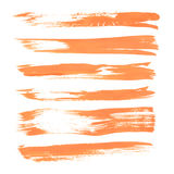 Set texture orange paint smears on white Royalty Free Stock Images