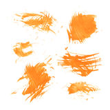 Set texture orange paint smears on white Stock Photos