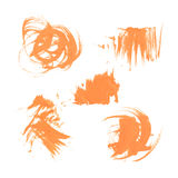 Set texture orange paint smears on white Royalty Free Stock Photos