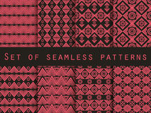 Set the texture seamless in ethnic style. Geometric seamless pattern. For wallpaper, bed linen, tiles, fabrics, backgrounds. Stock Photo