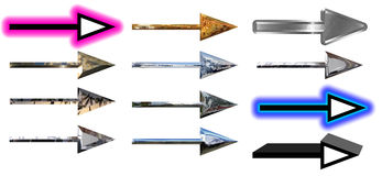 Set of textured arrows symbols Royalty Free Stock Images