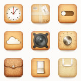 Set textured drewniany papier i rzemienne app ikony na zaokrąglonym co Zdjęcie Stock