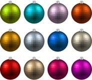 Set of textured realistic christmas balls. Royalty Free Stock Photo