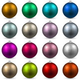 Set of textured realistic christmas balls. Royalty Free Stock Photos
