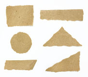 Set of textured recycle torn edges paper. Over white royalty free stock photography
