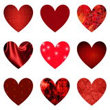 Set of textured red hearts Royalty Free Stock Images