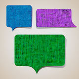 Set of textured talking bubbles Royalty Free Stock Photo