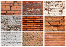 Set textures of brick walls Stock Images