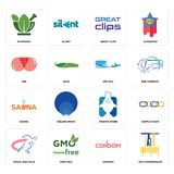Set of 75th anniversary, condom, track and field, fishing store, sauna, air mail, ass, great clips, ayurvedic icons. Set Of 16 simple  icons such as 75th Stock Images