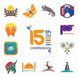 Set of 15th anniversary, oil derrick, scorpion, indian food, judo, badminton, camera, 100th prayer hands icons. Set Of 13 simple editable icons such as 15th Stock Images