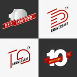 The set of 10th anniversary signs. The set of 10th anniversary signs in different styles. Design elements. Stock vector Royalty Free Stock Photography