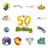 Set of 50th birthday, football, badminton, knight on horse, democratic party, chameleon, med, pinpoint, 45th anniversary icons Stock Images