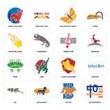Set of 40th birthday, hip hop, rat, knight on horse, frog, treble clef, shooting stars, monarch butterfly, french bulldog icons Stock Photo