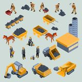 Mine, quarry workers and machines isometric vector. Set of 18-th century and modern mine workers with work tools, horse drawn cart with coal, mining equipment Stock Illustration