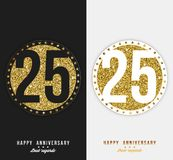 Set of 25th Happy anniversary cards template with gold elements. Vector Royalty Free Stock Images
