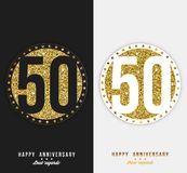 Set of 50th Happy anniversary cards template with gold elements. Vector Royalty Free Stock Image