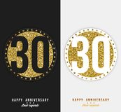 Set of 30th Happy anniversary cards template with gold elements. Vector Royalty Free Stock Photos