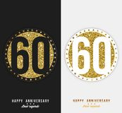 Set of 60th Happy anniversary cards template with gold elements. Vector stock illustration